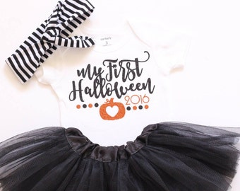 Baby girl halloween outfit My First Halloween outfit baby girl clothes Halloween bodysuit Baby girl halloween shirt