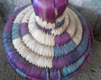Multi Colored Raffia Basket