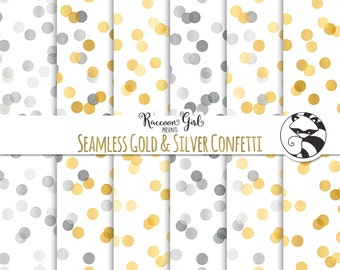 50% OFF Seamless Gold and Silver Confetti Digital Paper Set - Personal & Commercial Use