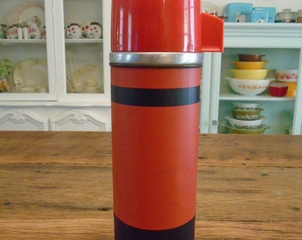 SALE-Vintage Red and Black Aladdin Metal Thermos
