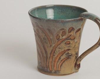 Ready to ship! Stoneware mug, pottery coffee cup, ceramic mug, tea cup, pottery mug, with harvest gold browns and jade green glazes.
