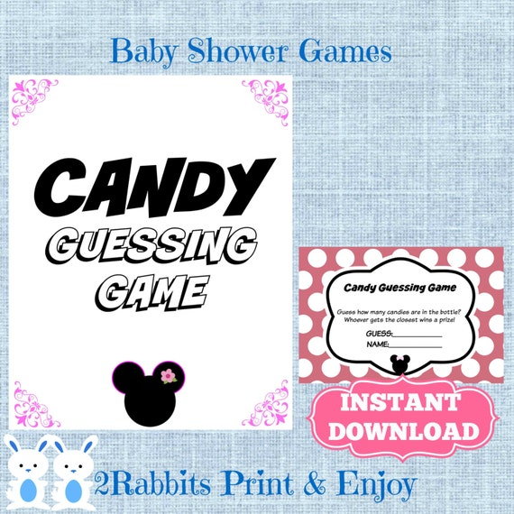 Candy Baby Shower Game: Minnie Mouse Candy Guessing Game With Matching Sign Disney