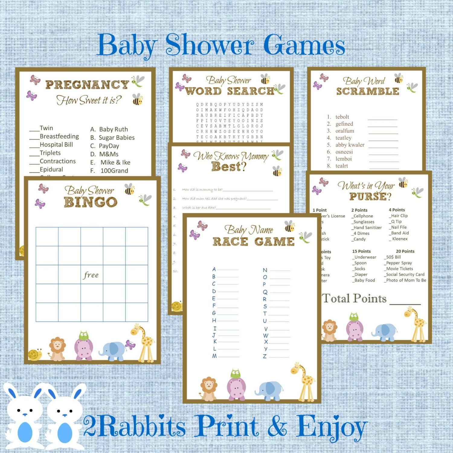 Baby Shower Games: Safari Jungle Baby Shower Games Package 7 Printable Games Name
