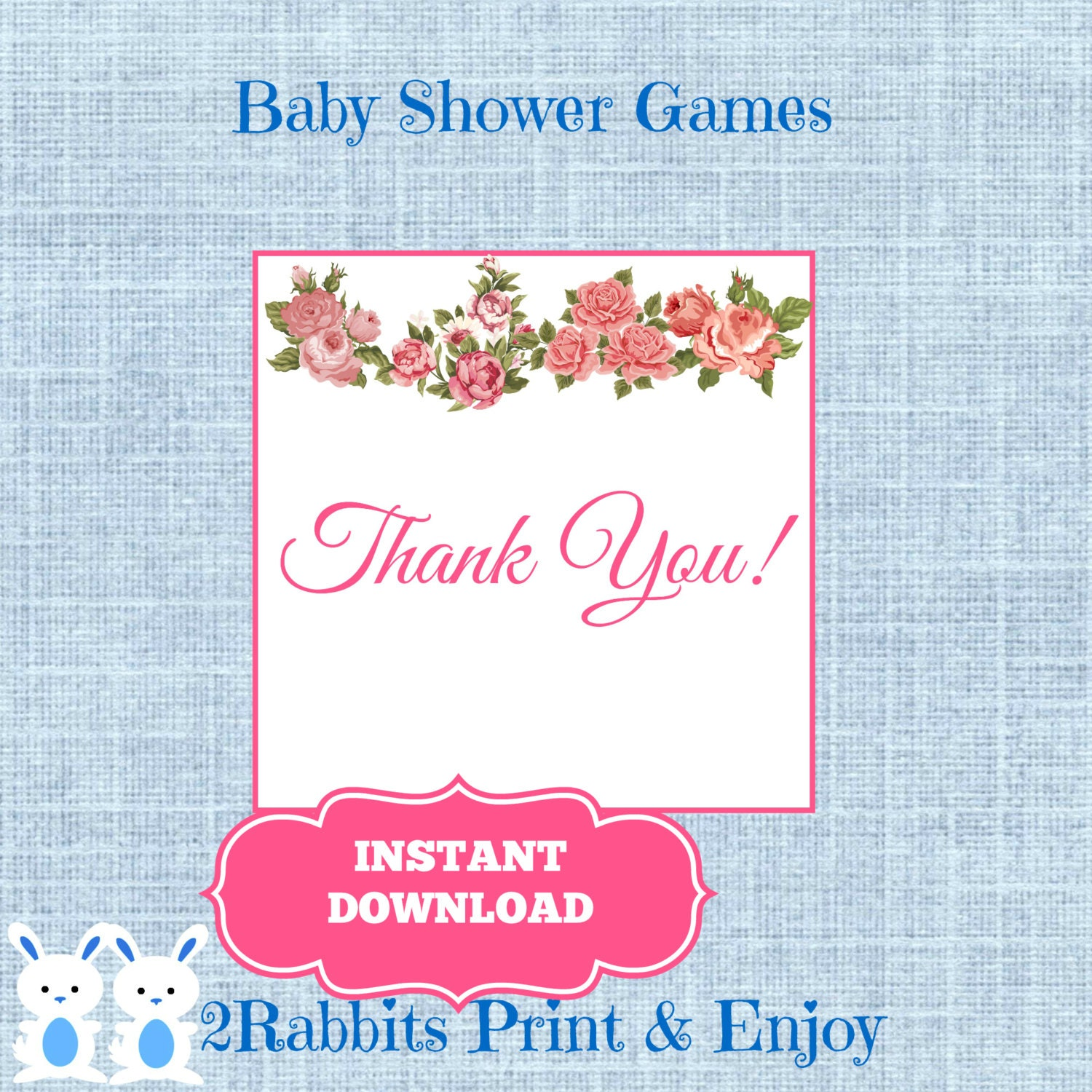 vintage floral baby shower thank you gift by 2rabbitsprintenjoy