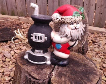 Charming Glenview Mold Ceramic Santa and Pot Belly Stove