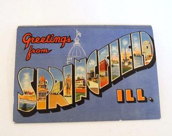 Postcard Springfield illinois Fold Out Post Card Unused 1950s Souvenir Folder Booklet Linen