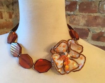 Amber Colored Glass Statement Necklace with Vintage Hand Beaded Flower Brooch with Sequins