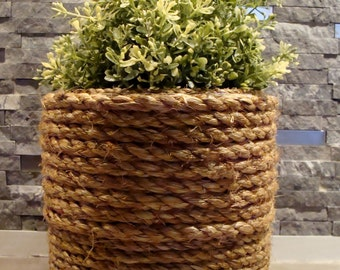 Up-cycled Jute Rope Wrapped Canister