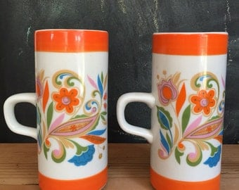 "2 ""Psychedelic"" Royal Crown Smug Mugs"
