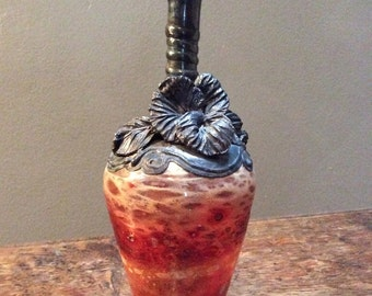 King Solomon Finds Silver Overlay Art Glass Vase