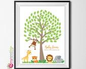 Safari Jungle Fingerprint Tree - Baby Shower or Birthday - DIY Printable (Digital File)