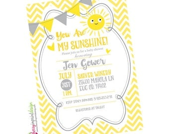Adorable You Are My Sunshine Baby Shower Invitation   Chevron   DIY Digital  File (PDF