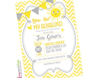 Adorable You Are My Sunshine Baby Shower Invitation - Chevron - DIY Digital File (PDF or JPEG)