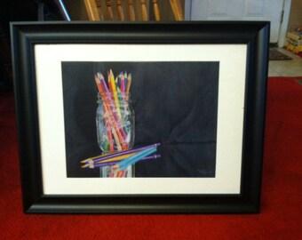 """Reflections in Colored Pencil- 20""""x24"""" Original colored pencil."""