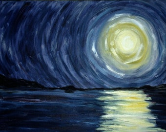 Abstract moon over water