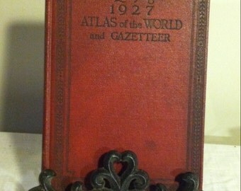 Antique Atlas of the World & Gazetteer Red Leather Book; 1927