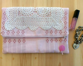Vintage Fabric Fold Over Clutch