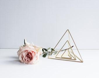 Three Nesting Triangles | Brass Air Plant Holder, Modern Minimalist Geometric Ornament, Desk Ornament, Centerpiece