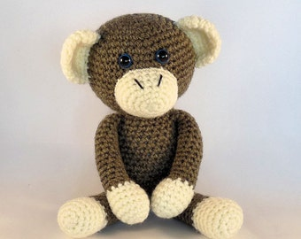 Crochet Amigurumi Monkey, Brown Monkey, Plush Monkey, Cute Monkey, Stuffed Animal Toy, Hand Made Toy, Australian Made.