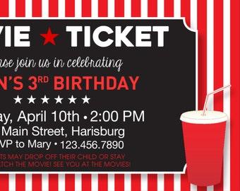 Movie Ticket Birthday Invitation