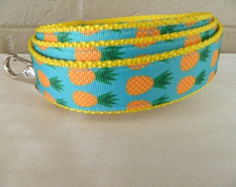 Bright Pineapples on Aqua Dog Leash