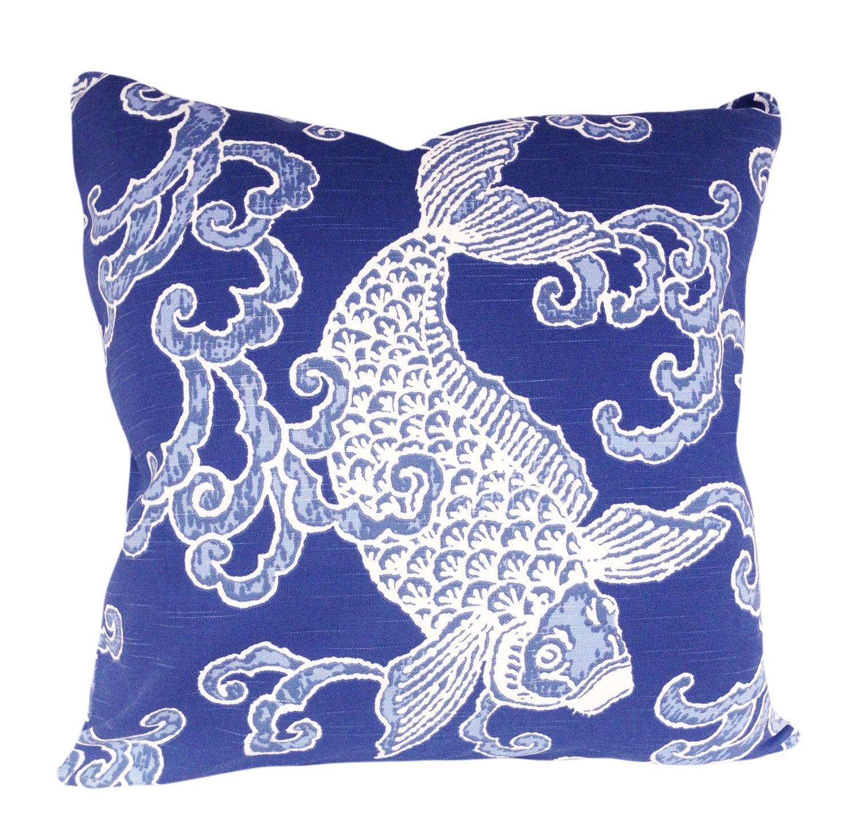 Kravet banku fish decorative pillow cover throw pillow for Fish throw pillows