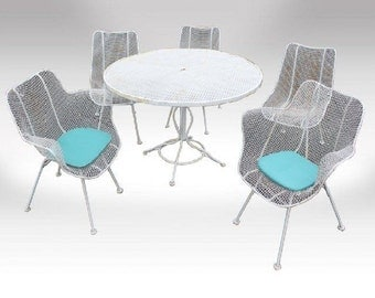 Mid Century Modern Woodard Sculptura White Mesh Metal Wire Table & Chairs