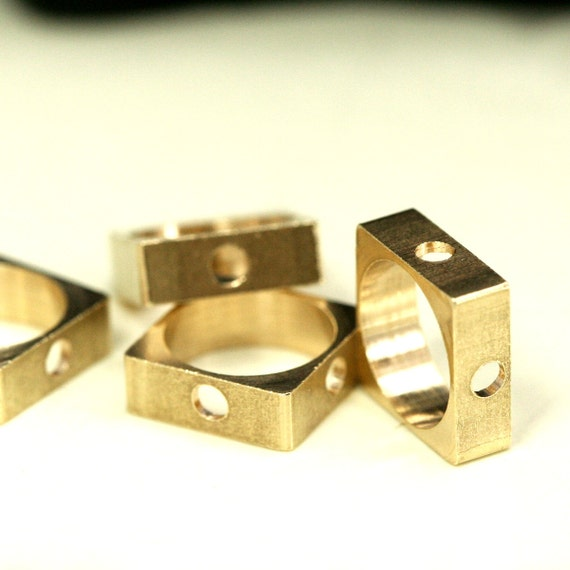 """25 pcs Raw Brass square 6 x 3.5 mm 1/4"""" x 9/64""""  finding square industrial design 1280R"""