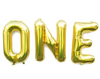ONE Gold Balloons First Birthday Balloon Air-fill 16 inch balloon garland balloon One Centerpiece Gold 1st Birthday Balloon number 1 balloon