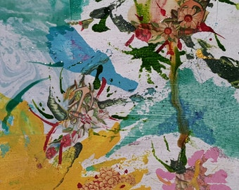 Original Mixed Media Art Collage - Flowers Series # 2