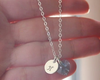 Bridesmaid Gifts, Gifts for Bridesmaids, Initial Heart Necklace, Sterling Silver Initial Necklace, Personalized Wedding Gifts, Custom