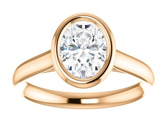 Oval Forever One Moissanite Engagement Ring| 1.50 Carats| Rose Gold| Contemorary| Diamond Alternative Engagement Ring
