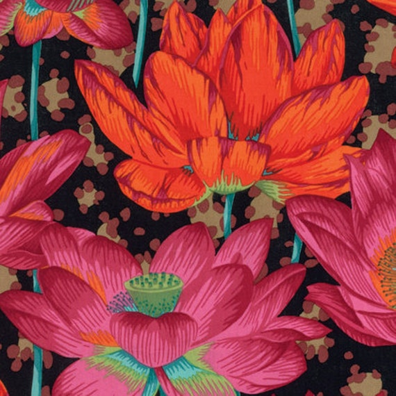 LEOPARD LOTUS BLACK PJ081 by Philip Jacobs for Kaffe Fassett Collective Sold in 1/2 yd increments