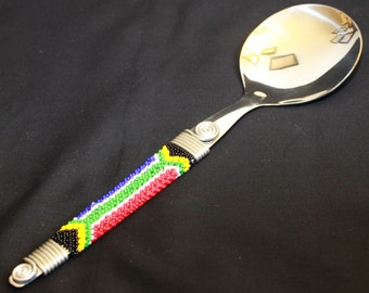Hand Beaded South African Flag Serving Spoon