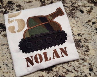 Army birthday shirt with tank, name and number