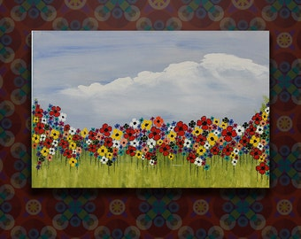 Original Flower Field Abstract Acrylic Painting on Stretched Canvas