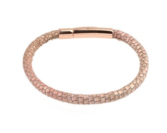 Women's Leather Bracelet Metallic Lizard Print patterned Stitched Two Tone Rose