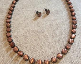 Cats-eye glass cupchain necklace - orange