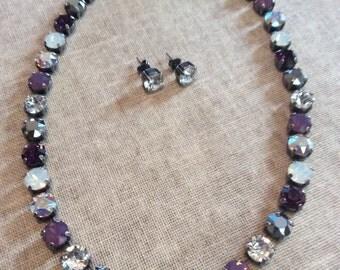 Swarovski crystal necklace choker -  purple