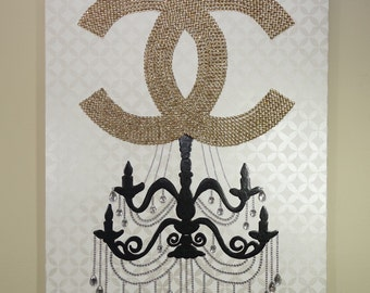 Chanel Chandelier Glam (24x30) Fashion Art, Chanel Inspired, Pop Art, Chanel Painting, Chandelier Painting, Home Decor