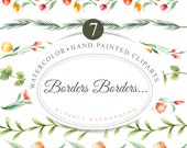 7 Floral borders, hand painted clipart, watercolor borders, watercolor clipart, 300 dpi, without background