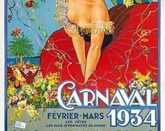 Vintage 1934 Nice France Carnival Poster A3 Print