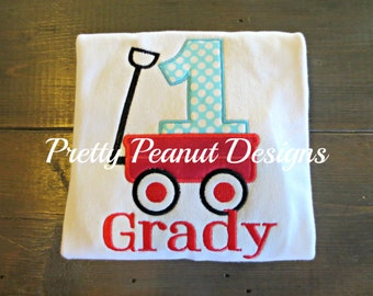 Boy Birthday Little Red Wagon Shirt or Onesie - Wagon Theme Birthday