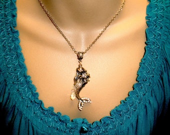 Mermaid Teardrops Pendant Necklace Ocean Themed Jewelry Nautical Fashion Necklace Free Shipping Gift for Her Mermaid Beach Jewelry Gift