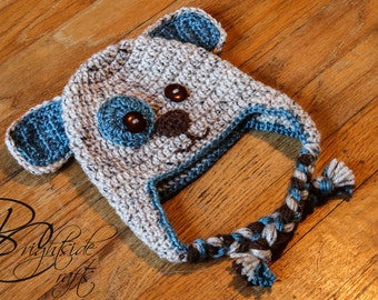 MADE TO ORDER Crochet Brown and Blue Earflap Puppy Hat Crochet Puppy Crochet Dog
