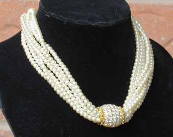 STRINGS OF PEARLS/ Faux Pearl Necklace/ Pearls/ Rhinestone and Pearls/ Bridal Necklace/ Vintage Wedding/Stunning Necklace