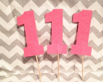 Set of 12 Number 1 Pink Glitter cupcake toppers