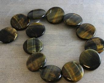 30mm Smooth Round Tigers Eye  Disc Round Flat beads -  Destash- Tigers Eye Beads - Gemstone Beads - Round Beads - Brown Beads - Tigers Eye