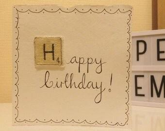Happy Birthday Scrabble Cross Stitch Card