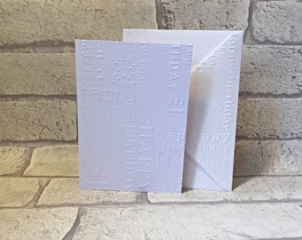 Happy Birthday Cards Set, Embossed Card Set, Blank NoteCard Set, Set Of 8 NoteCards